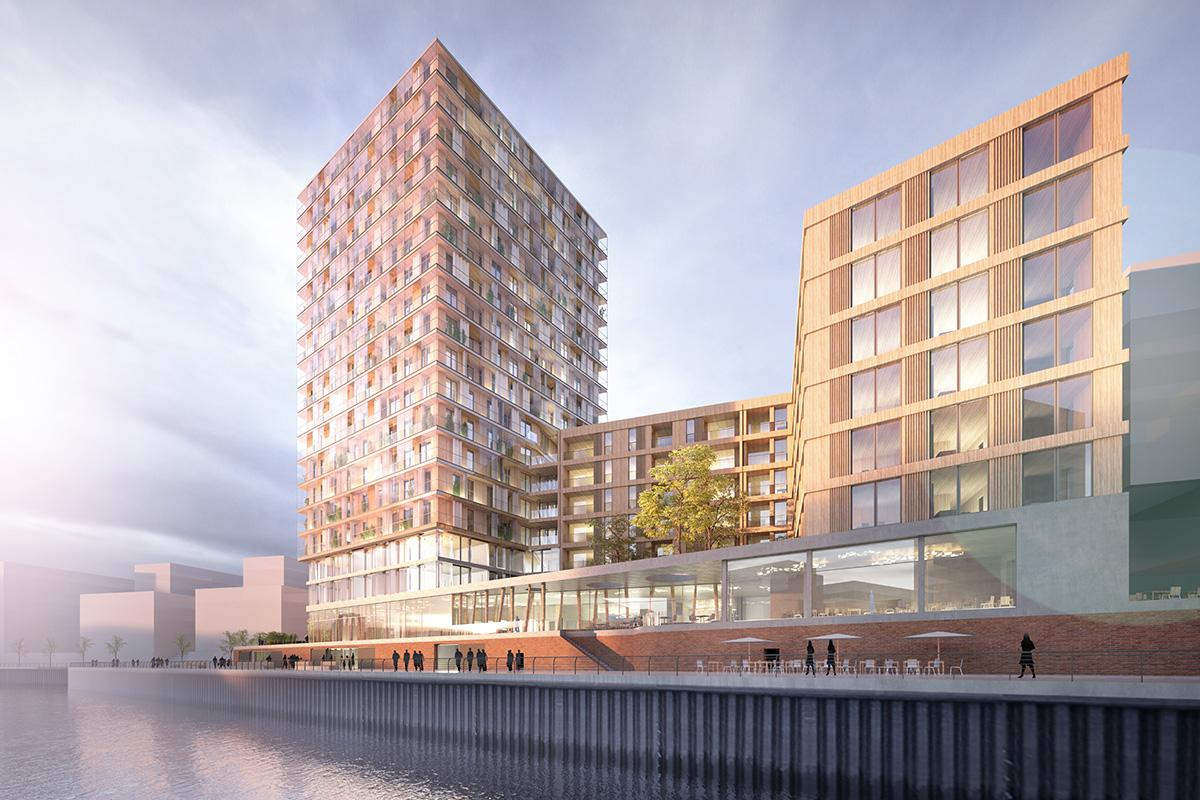 Baubeginn: Mit 65m Höhe entsteht in der Hamburger HafenCity Deutschlands höchstes Hochhaus aus Holz